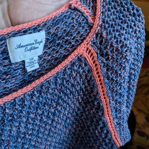 Pink, Blue & Salmon Crochet Knit Scoopneck Sweater